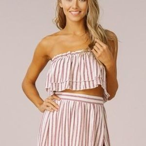 NWT Listicle Striped Bandeau Ruffle Crop Top